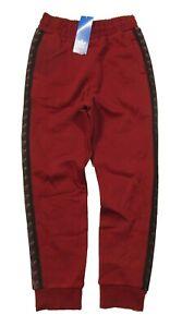 Adidas Boys Burgundy Red Logo Tape Fleece Jogger Pants