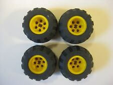 Lego 43.2x28 S Technic Wheels LOT OF 4 Tires Black Balloon Tires YELLOW RIMS