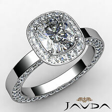 Halo Pave Cushion Diamond Eternity Engagement Ring EGL E SI1 Platinum 950 2.38ct