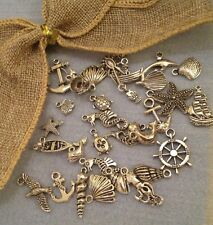15 NAUTICAL mixed charms vintage silver tone turtle crab shell fish anchor boat