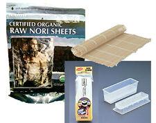 Raw Organic Nori Sheets 50qty + Sushi Rolling Mat + Mold unToasted Makisu Roller