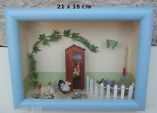 vitrine miniature, poulailler, décoration, maison de poupée,poule  08