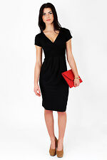 Classic & Elegant Women's Dress V-Neck Cocktail Jersey Office Size 8-18 5900