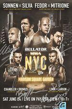Fedor Emelianenko Wanderlei Silva MSG + Bellator NYC Signed 11x17 Poster BAS COA