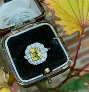 3Ct Yellow Sapphire and Diamond Art Deco Halo Engagement Ring 14K White Gold FN