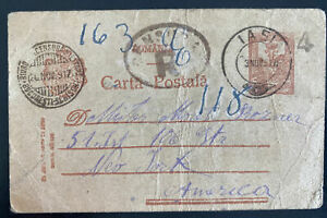 1917 Iasi Romania Postal Stationery Postcard Cover to New York USA