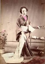 Albumen image c1880's Japan tinted historic teen woman dressing obi fashion