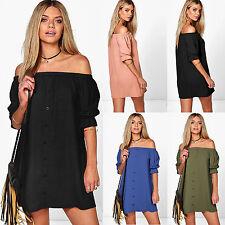 Womens Ladies Off Shoulder Strapless Tops T Shirt Blouse Short Sleeve Mini Dress