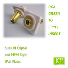 RCA - F Type Green Audio Wall Plate Insert Fits CLIPSAL AND COMPATIBLE PLATES