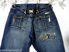 AKS AKADEMIK Jeans 26x31 Dark wash Zip pocket Urban Hip Hop Bootcut Urban Jnco