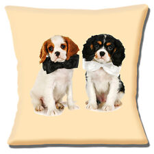 """NEW CUTE COUPLE of KING CHARLES CAVALIER SPANIELS PHOTO 16"""" Pillow Cushion Cover"""
