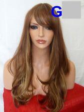 Marrón Rubio Peluca Franja De Moda Largo Ondulado Pelucas De Cabello Cabeza Completa Mujeres Damas G21