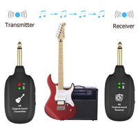 UHF Wireless Guitar Transmitters Receivers System Bass Audio Rechargeable 50M A8