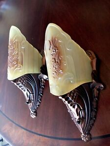 2 Art Deco Midwest Antique Glass Slip Shade Wall Sconce Fixtures