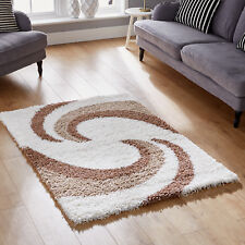 Small Large Modern Swirl 5cm Cosy Shag Cream Beige Thick Soft Pile Area Rugs 180x270cm (6x9')