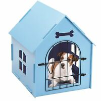Wood Dog House Crate Indoor Kennel Small Dogs Cat Pet Home Doghouse Shelter Blue