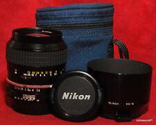 Nikon Nikkor 105mm f/2.5 AI MF Portrait Lens w Original HS-8 Hood & Caps CLEAN