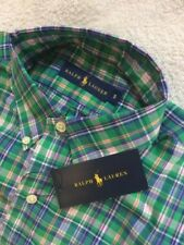 RALPH LAUREN CLASSIC SMALL GREEN PURPLE PLAIDS SHIRT LONG SLEEVE NEW WITH TAG