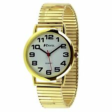 Ravel Mens Expandable Strap Stretch Watch Gold Bold Numbers Round Face