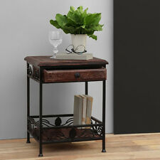 Onlineshoppee Mesa Solid Wood & Wrought Iron End Table