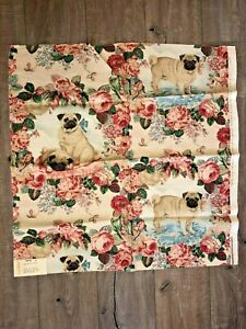 "Lee Jofa Rare Discontinued ""PUGS AND PETALS"" Buff Linen blend fabric sample Engl"