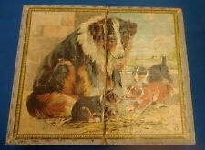 Antique Victorian Lithograph Wood Block Puzzle Dog animal Scenes Orig Box lassie