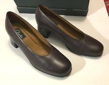 "Clarks Shoes Women's Henton Dress Pump Brown Leather 7 1/2 M 30132 Block Heel 2"""