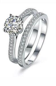 1.53ct 2pc Engagement Wedding Ring Set In 925 Sterling Silver SIZE I-U UK SELLER