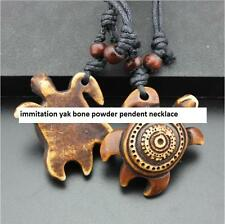 Cool Ethnic Tribal Imitation Yak Bone Brown Surfer turtle Pendant Necklace