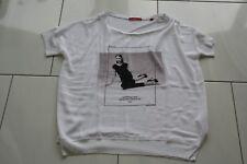 T-shirt s.Oliver Gr. 46 weiß mit Print in schwarz leicht glänzend Oversize