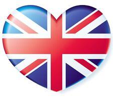British Union Jack Heart Flag adhesive transparent sticker for car cycle bike
