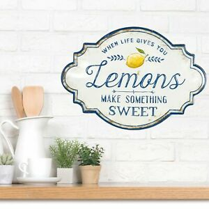 """""""When Life gives you Lemons"""" Wall Sign Metal Plaque Vintage Country Home Decor"""