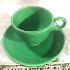 Old Light Green Fiesta Cup Saucer Set Ring Cup Handle Inside Circles 1936-1951**
