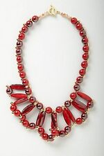 Anthropologie Red Resin Loop Bib Necklace NwT
