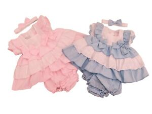 BNWT Baby girl spanish style frilly broderie anglaise pink or blue summer dress
