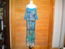 Save the Queen Maxi Dress Blue Printed Mesh Spaghetti Strap Split Sleeve L #5041