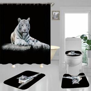 White Tiger Black Shower Curtain Bath Mat Toilet Cover Rug Bathroom Decor