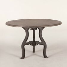 "48"" Dia. Vintage Dining Table Solid Marble Top Antique Cast Iron Base"