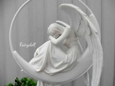 More details for angel white hanging winged angel on moon serenity figurine ornament 34cm decor