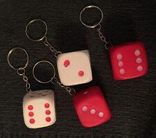 4 x RED White DICE KEYCHAIN Pocket Keys Key Chain Ring BFF Stocking Stuffers NEW
