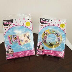 "Disney Junior Minnie Mouse 17.5"" Swim Ring Arm Floats Daisy Duck Pool Floaties"