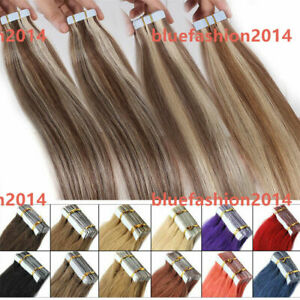 Invisible Tape in Russian Remy Human Hair Extensions FULL THICK White Blonde K52