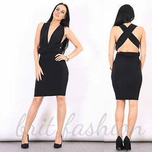Womens Ladies V Neck Plunge SLINKY Ruched Bodycon MULTIWAY MIDI DRESS Lot D1
