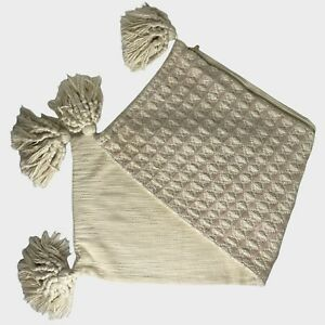 Anthropologie Textured Boho Lumbar Pillow Cover 14x40 Tassels Woven Pale Pink