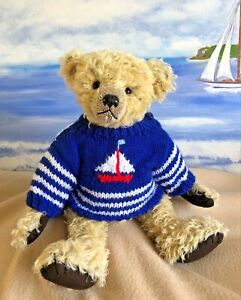 """++TEDDY CLOTHES++  new hand knitted nautical jumper to suit a 13"""" - 13.5"""" bear"""