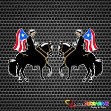2x PASO FINO BLACK HORSE WITH PUERTO RICO FLAG VINYL CAR STICKERS DECAL