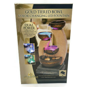 Newport Coast Gold Tiered Bowl Color Changing LED Fountain New Free Shipping