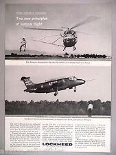 Lockheed Aerogyro & Humingbird Airplane PRINT AD - 1964