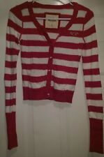 Hollister Womens Pinkish Purple White Striped Button Down Sweater Top Size S
