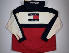 VTG TOMMY HILFIGER Men's L Big Flag Colorblock Packable Jacket Anorak 90S VH1